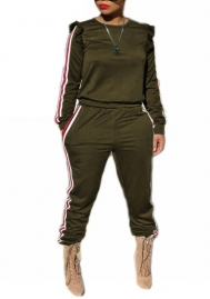 Women Fashion Striped Round Neck Long Sleeve Tops and Long Pants Tracksuit Suit