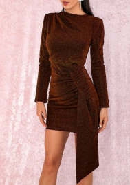 Women Fashion Velvet Ruffle Tie Long Sleeve Mini Dress