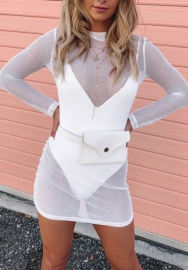 Women Sexy Mesh See Through Round Neck Bodycon Mini Dress
