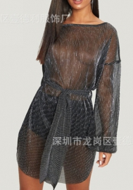 Women Sexy Organza Long Sleeve Mini Dress