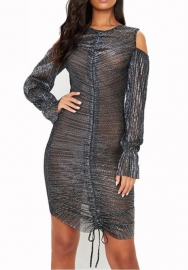 Women Sexy Mesh Ruffle Color Shoulder Long Sleeve Mini Dress
