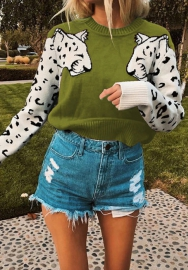 Women Fashion Tiger Long Sleeve Sweater Tops