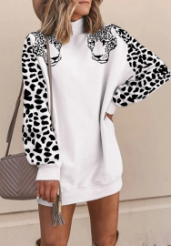 Women Fahsion Tiger Long Sleeve Round Neck Sweater Mini Dress
