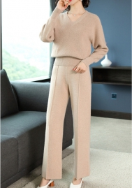 Women Fahsion Solid Color Long Sleeve Sweater Tops and Long Pants 2 Piece Suit