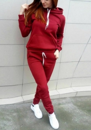 Women Fashion Solid Color Hoodie Long Sleeve Tops and Long Pants Tracksuit Suit