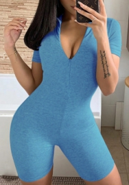 Women Fashion Solid Color Short Activewear Romper