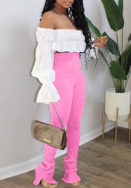 2020 Styles Women Fashion Solid Color Off Shoulder Puff Long Sleeve Tops and Ruffle Long Pants 2 Piece Suit