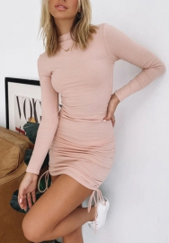 2020 Styles Women Fashion Ruffle Solid Color Long Sleeve Mini Dress