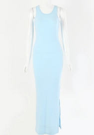 2020 Styles Women Fashion Solid Color High Split Maxi Dress