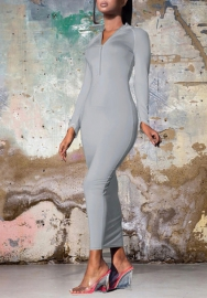 2020 Styles Women Fashion Solid Color Long Sleeve Front Zipper Maxi Dress