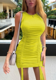 2020 Styles Women Fashion Solid Color Ruffle Mini Dress