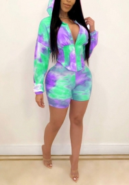 2020 Styles Women Fashion Colorful Hoodie Two Pieces Set
