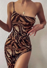 2020 Styles Women Fashion INS Styles Tiger Single Shoulder Maxi Dress