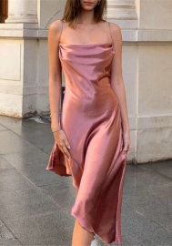 2020 Styles Women Fashion INS Styles Fashion Satin Irregular Maxi Dress