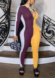 2020 Styles Women Fashion INS Styles Fashion Contrast Color Front Zipper Jumpsuit