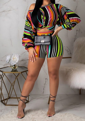 Women Fashion Striped Long Sleeve Tops And Short Pants 2 Piece Suit