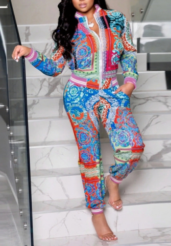 Women Fashion Print 3D-Digital Front Zipper Jacket and Long Pants Tracksuit Suit